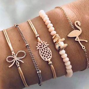 5 Boho Bracelet Pineapple Flamingo Set